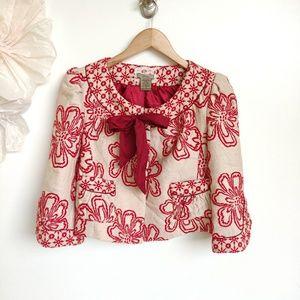Anthro/Revolve Red Embroidered Cream Jacket Tie